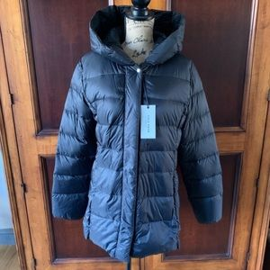 NWT Cole Haan Quilted Down Puffer Coat Hooded S